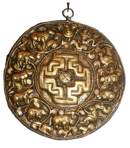 Agan Traders Bronze Mandala Plaque Hand crafted in Nepal[7.5 X 7.5 inches] - Agan Traders