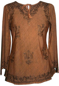 Embroidered Front V Neck Vintage Blouse - Agan Traders, Rust