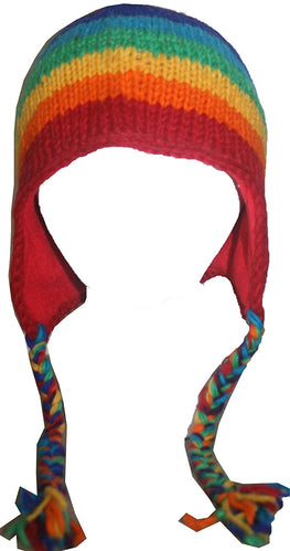 Nepal Rainbow Knit Beanie Fleece Lined ~ One Size - Agan Traders