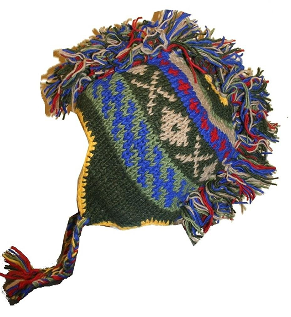 Agan Traders Hand Knitted 100% Wool Mohawk Hat Mitten Set One Size - Agan Traders, GreenBlue