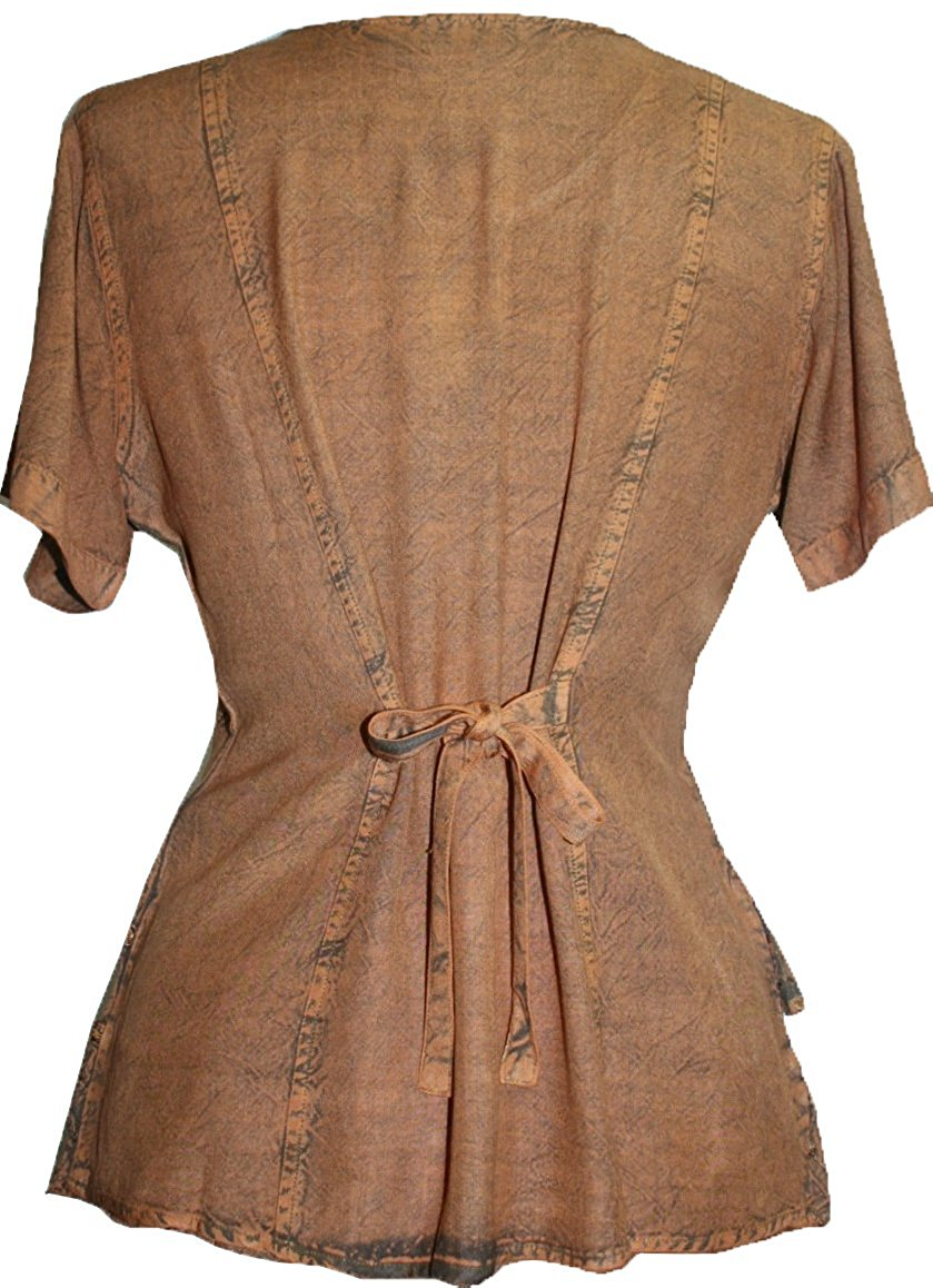 Medieval Renaissance Gypsy Ruffle Cross Blouse - Agan Traders, Rust