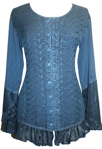 Embroidered Netted Ruffle Sleeve Blouse - Agan Traders, Blue
