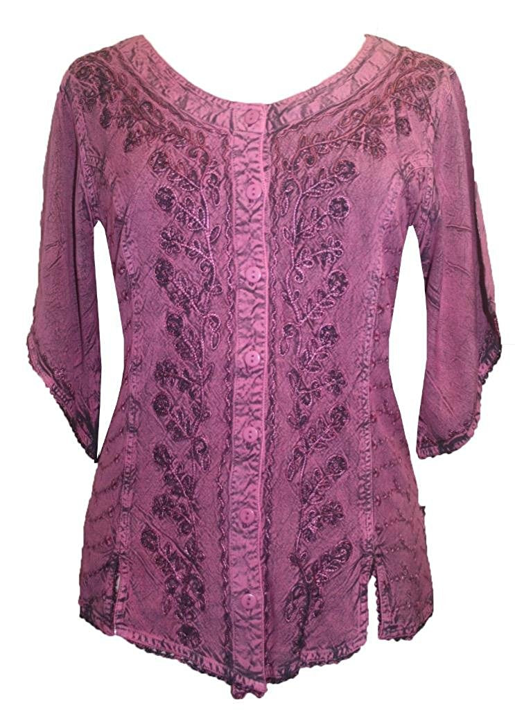 Scooped Neck Medieval  Embroidered Blouse - Agan Traders, Plum