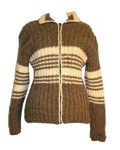 804 Wool Fleece Lined Sherpa Knitted Jacket Sweater - Agan Traders