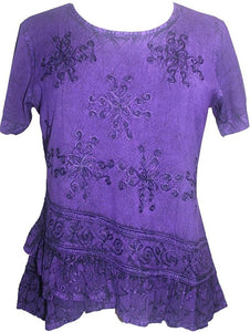 Medieval Renaissance Gypsy Ruffle Cross Blouse - Agan Traders, Purple