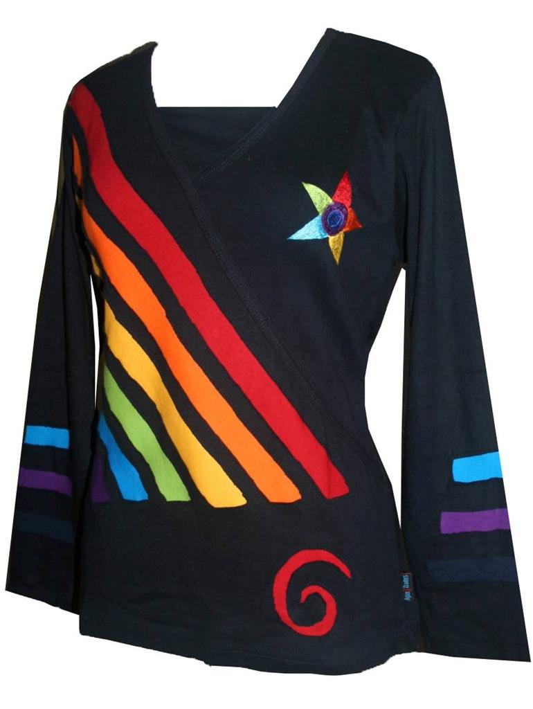 Rib Cotton Rainbow Diagonal Patched Star Boho Gypsy Top Blouse - Agan Traders, Rainbow Multi