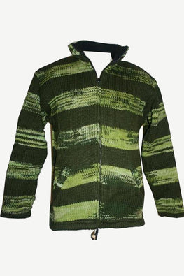 807 WJ Green Striped Wool Fleece Lined Knitted Jacket