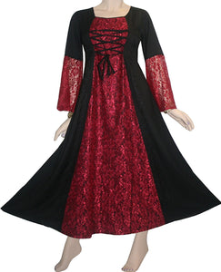 Net Medieval Vampire Gothic Renaissance Dress Gown - Agan Traders, Red Black
