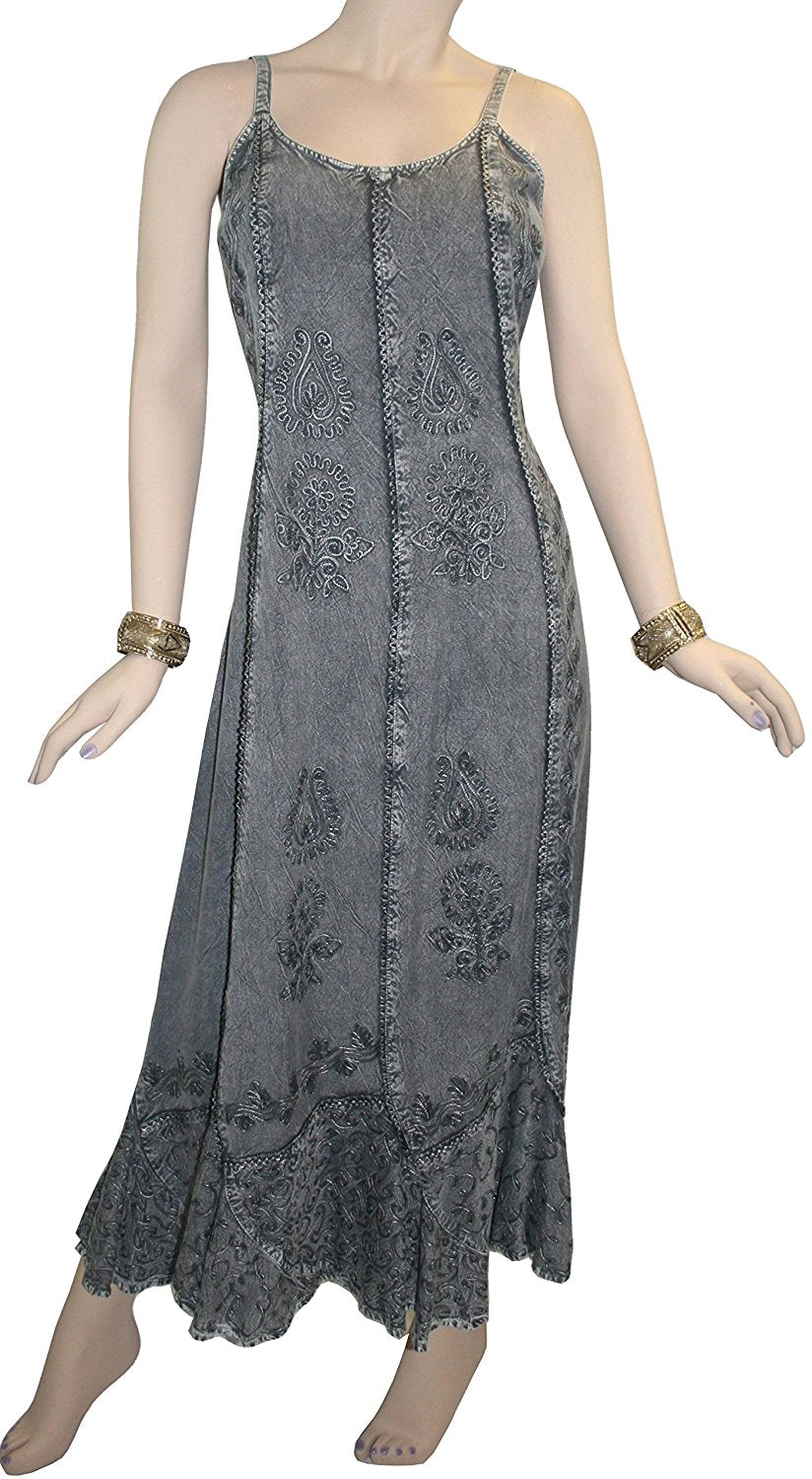 Rayon Embroidered Scalloped Hem Gypsy Spaghetti Strap Dress - Agan Traders, Silver