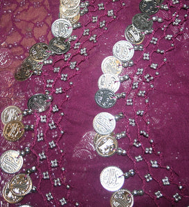 ST Agan Traders Belly Dancing Zumba Hip Coin Gypsy Hip Scarf - Agan Traders, Pink Silver