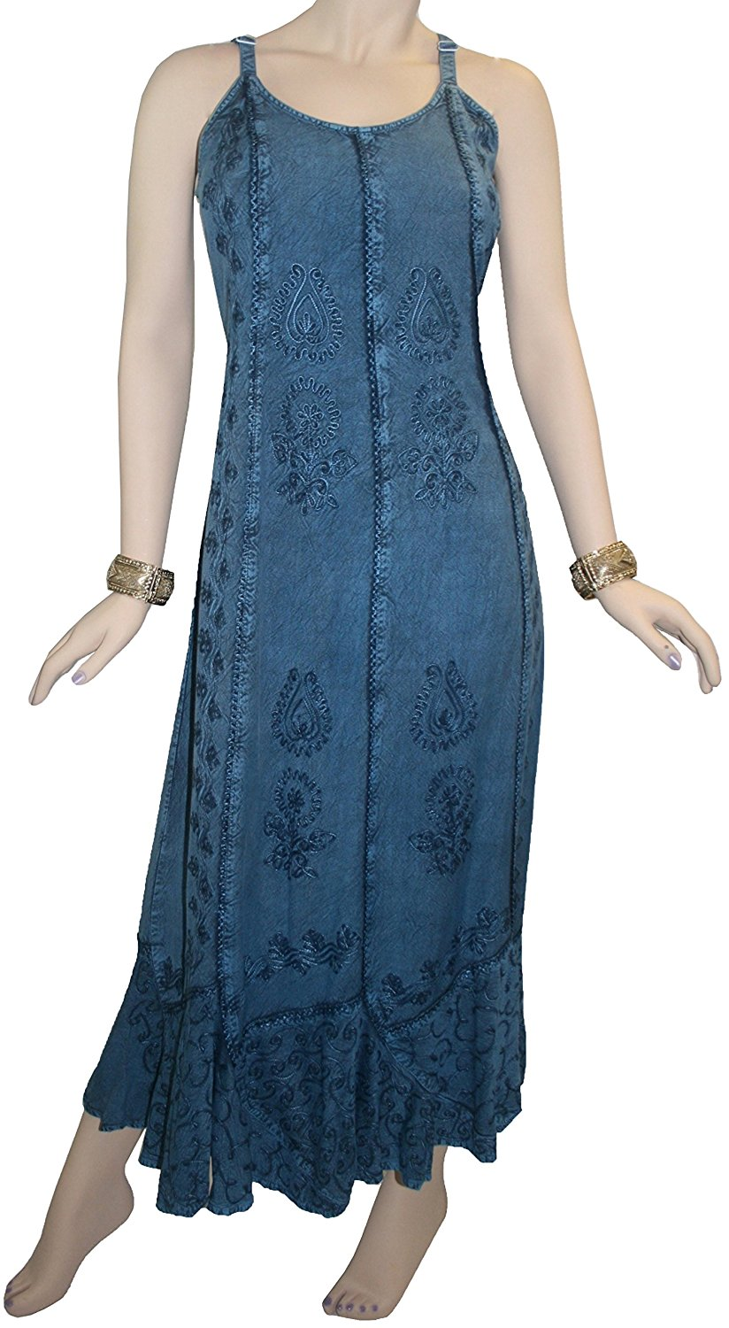 1005 DR Embroidered Scalloped Hem Gypsy Spaghetti Strap Dress - Agan Traders