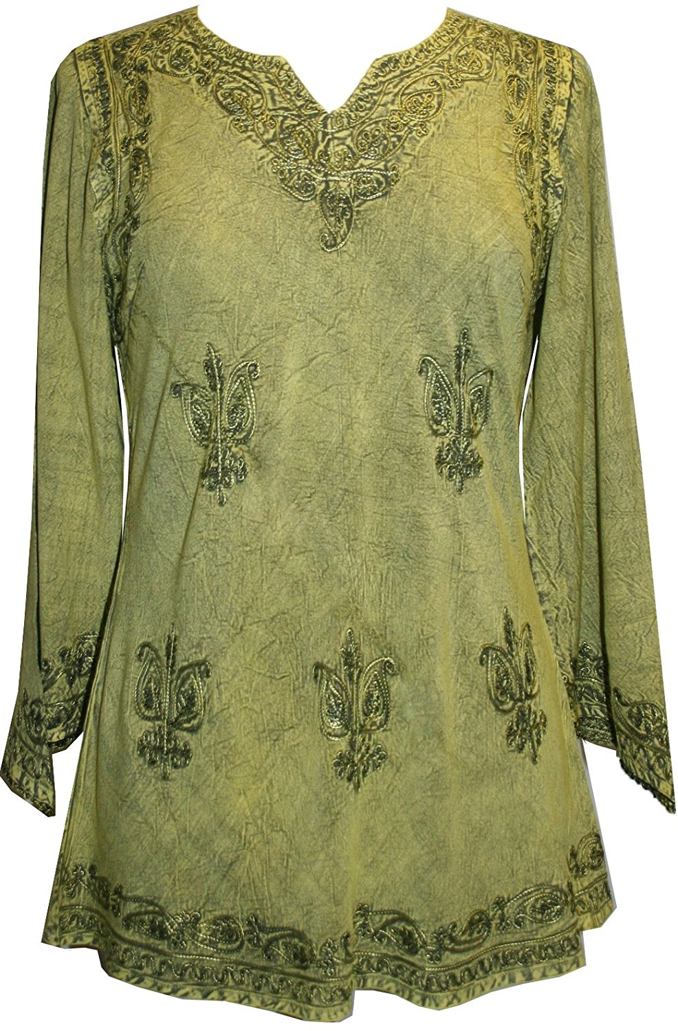 127 B Diamond Neck Embroidered Rayon Renaissance Tunic Blouse - Agan Traders