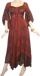 Medieval Gothic Bohemian Embroidered Handkerchief Flare Corset Dress Gown - Agan Traders, Burgundy