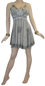 Gypsy Medieval Rayon Summer Tunic Dress - Agan Traders, Silver
