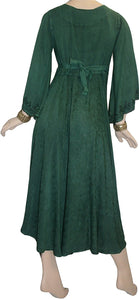 V Neck Embroidered Butterfly Bell Sleeve Flare Mid Calf Dress - Agan Traders, H Green