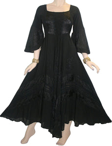 106 DR Renaissance Victorian Embroidered Flaire Hem Corset Dress Gown - Agan Traders, Black