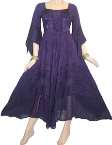 Medieval Gothic Bohemian Embroidered Handkerchief Flare Corset Dress Gown - Agan Traders, Purple