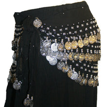 ST Agan Traders Belly Dancing Zumba Hip Coin Gypsy Hip Scarf - Agan Traders, Black Silver ST