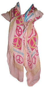 Soft Cotton Peace Symbol Printed Shawl Scarf Wrap Throw - Agan Traders