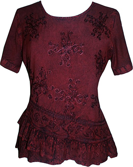 Medieval Renaissance Gypsy Ruffle Cross Blouse - Agan Traders, Wine Burgundy