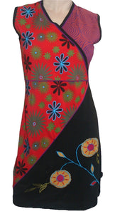 RD 14 Agan Traders Nepal Bohemian Gypsy Knit Cotton Knee Length Summer Dress - Agan Traders, Black Red