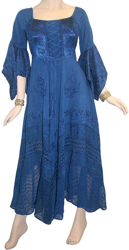 Medieval Gothic Bohemian Embroidered Handkerchief Flare Corset Dress Gown - Agan Traders, Navy Blue