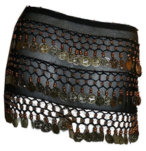 ST Agan Traders Belly Dancing Zumba Hip Coin Gypsy Hip Scarf - Agan Traders, Black Gold ST