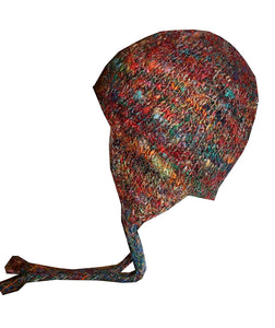 Fuzzy Himalayan Raw Silk Knit Fleece lined Multi-colored Beanie - Agan Traders, Recycle Silk 1