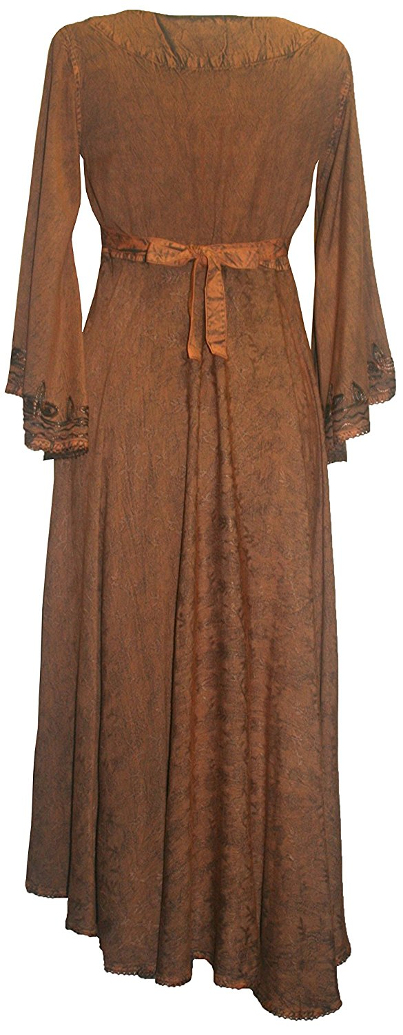 V Neck Embroidered Butterfly Bell Sleeve Flare Mid Calf Dress - Agan Traders, Rust