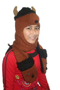 Animal Hat Combo Winter Fleece Headwear with Long Scarf and Mitten - Agan Traders