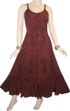 Rayon Embroidered Scalloped Hem Gypsy Spaghetti Strap Dress - Agan Traders, Burgundy