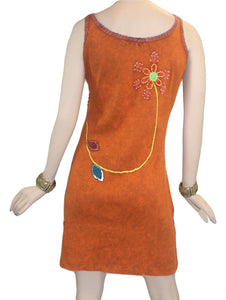 R 01 DR Agan Traders Knit Cotton Spaghetti Strap Flower Leaflets Sun Dress - Agan Traders, Rust