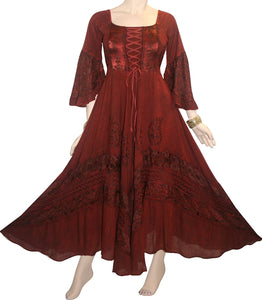 106 DR Renaissance Victorian Embroidered Flaire Hem Corset Dress Gown - Agan Traders, Burgundy