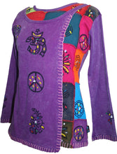 Knit Cotton Hand Brush Painted Bhoto Style Top Blouse - Agan Traders, Purple