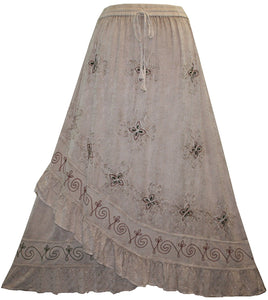 Gypsy Medieval Embroidered Asymmetrical Cross Ruffle Hem Skirt - Agan Traders, Beige C