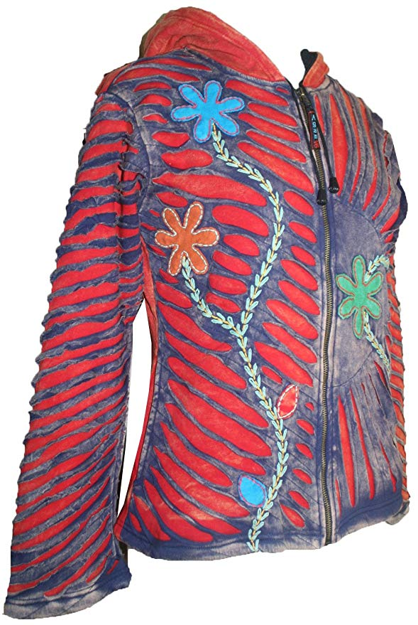 Patch Funky Fleece Lined Bohemian Razor Cut Embroidered Jacket - Agan Traders, Red Multi