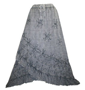 Gypsy Medieval Embroidered Asymmetrical Cross Ruffle Hem Skirt - Agan Traders, Silver Gray