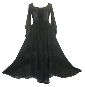 Medieval Gothic Bohemian Embroidered Handkerchief Flare Corset Dress Gown - Agan Traders, Black