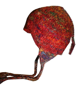 Fuzzy Himalayan Raw Silk Knit Fleece lined Multi-colored Beanie - Agan Traders, Recycle Silk 2