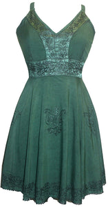 Gypsy Medieval Rayon Summer Tunic Dress - Agan Traders, Green