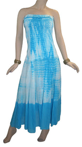 Cotton Tie Dye Gypsy Halter Tube Dress - Agan Traders, Turquoise