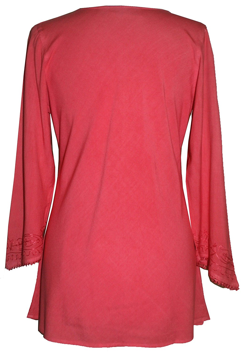 Embroidered Rayon Renaissance Blouse - Agan Traders, Coral