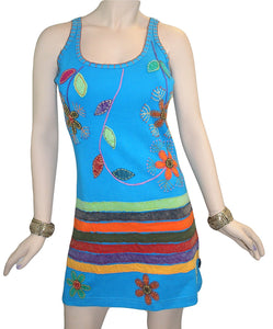 R 01 DR Agan Traders Knit Cotton Spaghetti Strap Flower Leaflets Sun Dress - Agan Traders, Turquoise