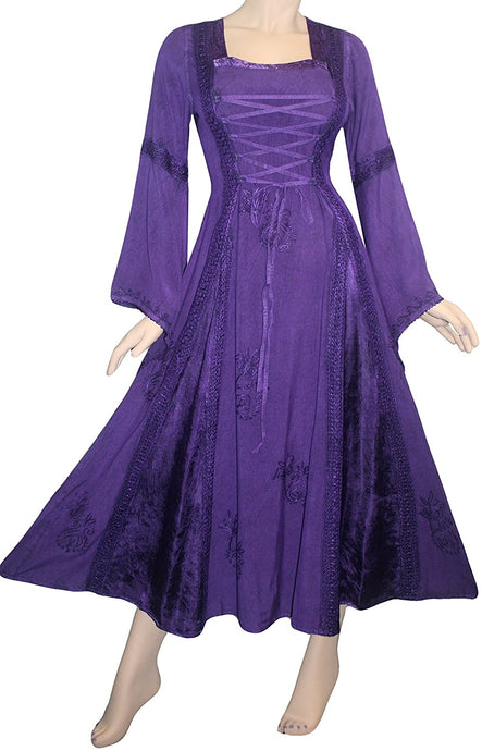 Medieval Corset Satin Embroidered Bell Sleeve Dress - Agan Traders, Purple