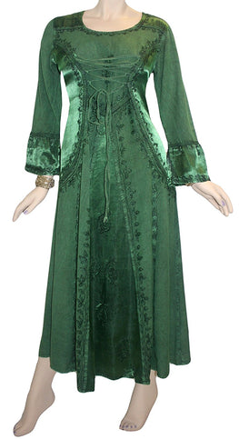 Gothic Embroidered Flare Corset Satin Long Dress Gown - Agan Traders, Green