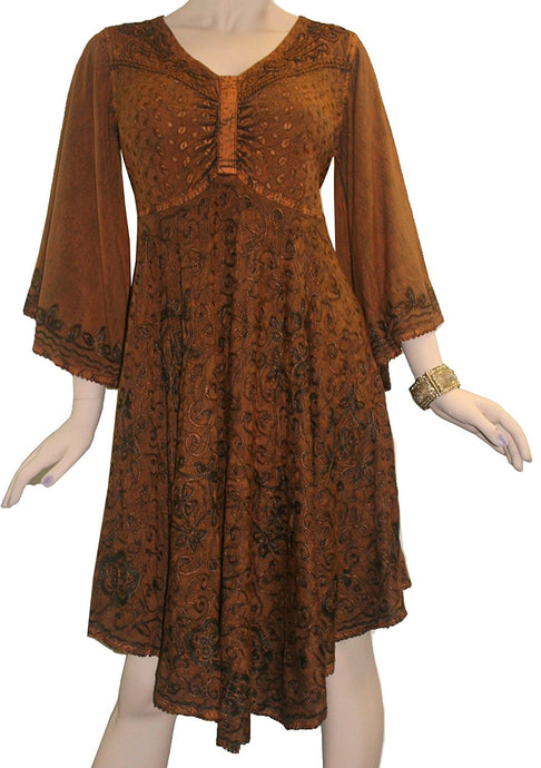 Medieval Roman Embroidered Bell Sleeve Flare Knee Length Baby Doll Dress - Agan Traders