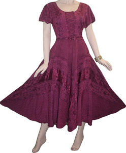 Rayon Embroidered Flare Gothic Corset Dazzling Dress Gown - Agan Traders, Burgundy / Plum