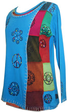Knit Cotton Hand Brush Painted Bhoto Style Top Blouse - Agan Traders, Turquoise