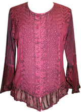 Embroidered Netted Ruffle Sleeve Blouse - Agan Traders, Burgundy