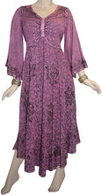 V Neck Embroidered Butterfly Bell Sleeve Flare Mid Calf Dress - Agan Traders, Plum
